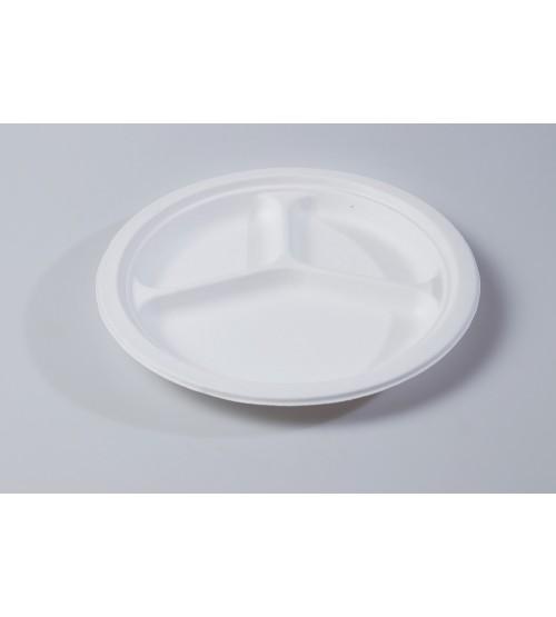 "25cm 10"" Round Plate 3 compartment"