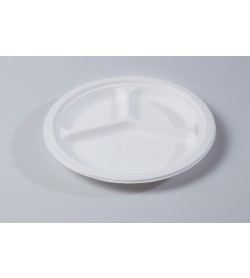 "25cm 10"" Round Plate 3 compartment"