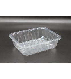 9 X 7 X 50 RIBBED TOP SEAL TRAY / CLEAR
