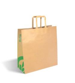 BIOPAK MEDIUM FLAT HANDLE KRAFT PAPER BAG