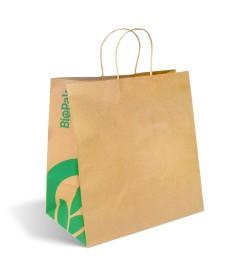 BIOPAK JUMBO TWIST HANDLE KRAFT PAPER BAG
