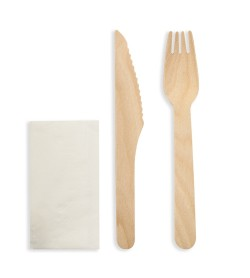 Wooden Cutlery Pack - Knife, Fork & Napkin
